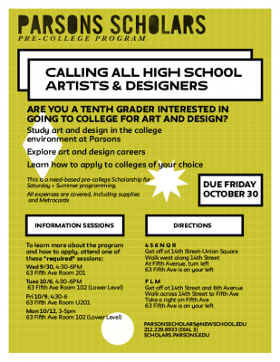 Now Recruiting: NYC Public School 10th Graders for Parsons Scholars Program
